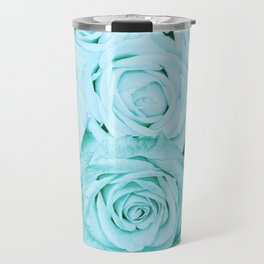 Turquoise roses - flower pattern - Vintage rose Travel Mug