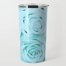 Turquoise roses - flower pattern - Vintage rose Travel Mug