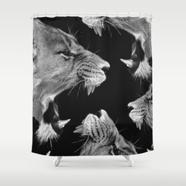 Lion B&W Shower Curtain
