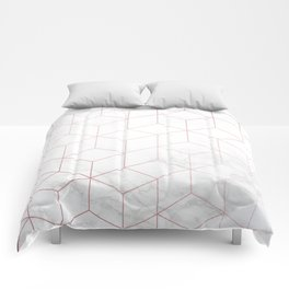 Rose Gold Geometric White Mable Cubes Comforters