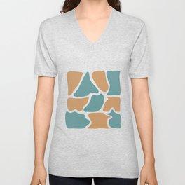 Crayola Tan Blue Abstract Pattern Unisex V-Neck