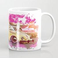 volkswagon Mugs featuring yellowinpink beetle bug by Vector Art