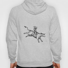 Bull Riding Rodeo Cowboy Drawing Hoody