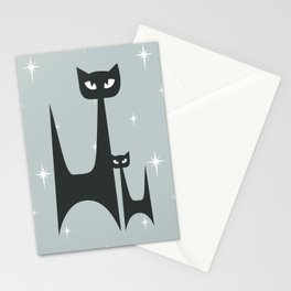 Mid Century Atomic Blue Cats Stationery Cards