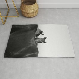 Wild Horses in Black and White Rug