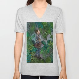 A Winter Walk in a Tropical Greenhouse Unisex V-Neck