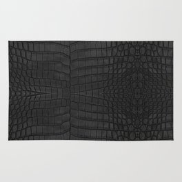 Black Crocodile Leather Print Rug