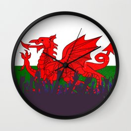 Welsh Flag with Audience Wall Clock