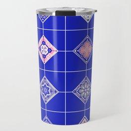 Talavera Mexican Tile – Pink & Periwinkle Palette Travel Mug