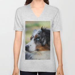 Australian Shepherd Blue Merle Dog Unisex V-Neck