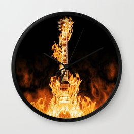 Flaming Guitar Wall Clock
