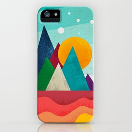 056 little owl travels the colored sunny landscape iPhone Case