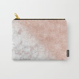 Elegant faux rose gold confetti white marble image Carry-All Pouch