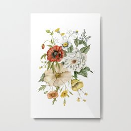 Wildflower Bouquet on White Metal Print