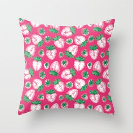 Strawberry Pink Pattern Throw Pillow