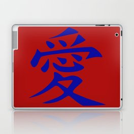 The word LOVE in Japanese Kanji Script - LOVE in an Asian / Oriental style writing. Blue on Red Laptop & iPad Skin