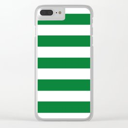 La Salle green - solid color - white stripes pattern Clear iPhone Case