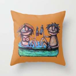 In the bath Throw Pillow