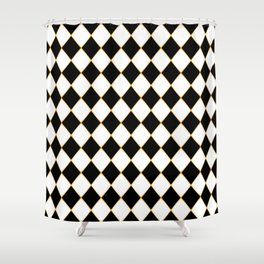 Chess board with golden threads Shower Curtain