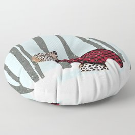 Rabbit Wintery Holiday Design Floor Pillow