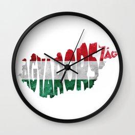 Magyarország World Map / Hungary Typography Flag Map Art Wall Clock