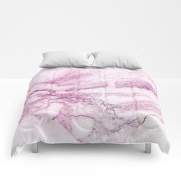 Watercolor pink marble Comforters