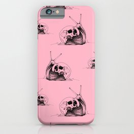 This Skull Is My Home (Snail & Skull) - Blush Pink & Charcoal Black iPhone Case