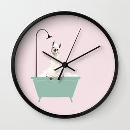 Llama Enjoying Bubble Bath Wall Clock