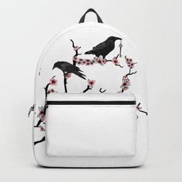 Ravens on cherry tree Backpack