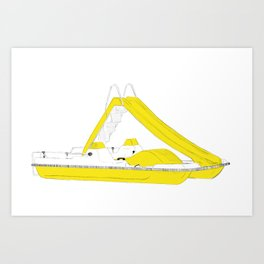 Yellow pedalo Art Print
