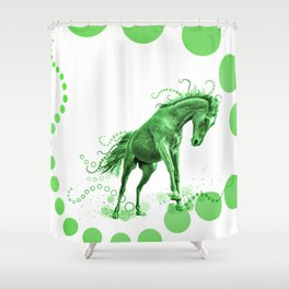 Playful Horse with Circles (green) Shower Curtain