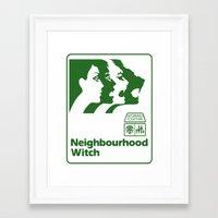 the neighbourhood Framed Art Prints featuring Neighbourhood Witch by Crank Institute