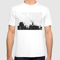 NYC splatterscape White SMALL Mens Fitted Tee