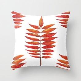 Staghorn sumac leaf | Feuille de sumac vinaigrier  Throw Pillow