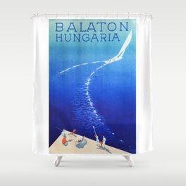 Budapest, Hungary, Balaton, vintage poster Shower Curtain