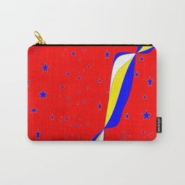 White, Blue and Yellow Stripes with Stars Carry-All Pouch