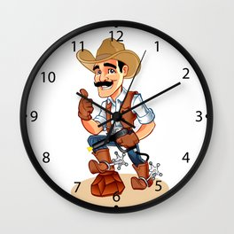 Illustration of a cowboy  with pistol Wall Clock