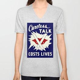 Careless talk costs lives Unisex V-Neck