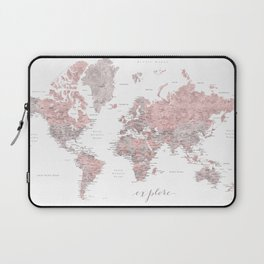 Explore - Dusty pink and grey watercolor world map, detailed Laptop Sleeve