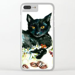 Coffee, Orchid and Black Cat Vintage Style Large Format XXL Clear iPhone Case