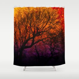 Ever After, Trees Silhouette Sunset Shower Curtain