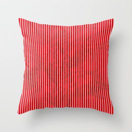Red grunge stripes on white background Throw Pillow