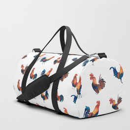 Rise of the Rooster // watercolor roosters standing and crowing Duffle Bag
