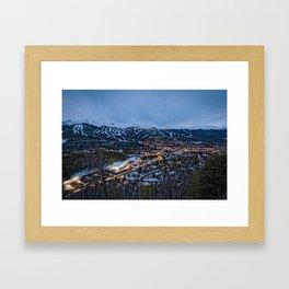 BRECKENRIDGE COLORADO PHOTO - WINTER NIGHT IMAGE - SKI TOWN PICTURE - CITY PHOTOGRAPHY Framed Art Print