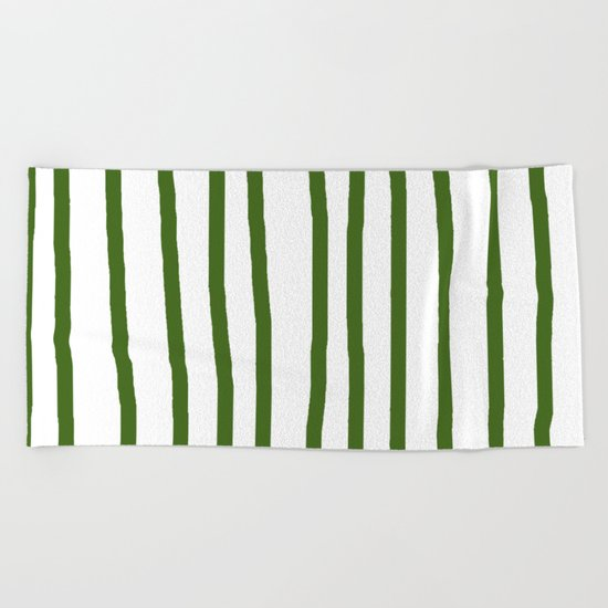 Simply Drawn Vertical Stripes in Jungle Green Beach Towel