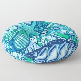 She Sells Sea Shells Blue Floor Pillow