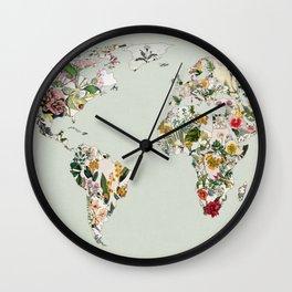 Vintage Botanical World Green Wall Clock