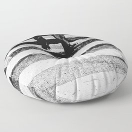 Abstract city streets in black and white Floor Pillow