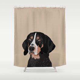 Maggie bluetick coonhound Shower Curtain