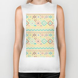 Abstract burgundy pink teal yellow aztec tribal pattern Biker Tank
